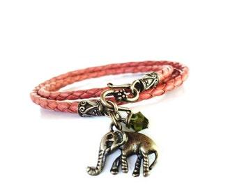 Sacred Elephant Leather Wrap Bracelet Orange Fall Autumn Braided Yoga Jewelry Unique Gift For Her Stocking Stuffer Under 50 Item P11