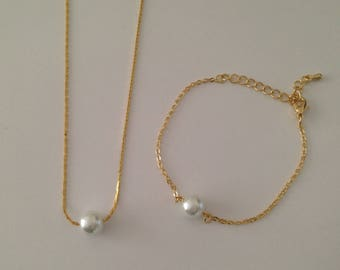 3 Floating Pearl Necklace and Bracelet Gold Jewelry Sets, Bridesmaid Necklace Gift, Bridesmaid Bracelet Gift