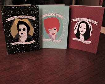 Our Ladies greeting cards ~ set of 3 ~ Endora, Morticia, and Norma Desmond or customize your set