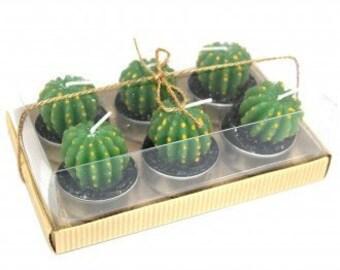 6er Set Cactus Candle, Kugelkaktus Teelichter, Kaktus Kerzen