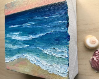 Beach Oil Painting, Ocean art, 4x4 Oil Painting