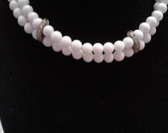 Double Row Milk Glass Choker With Channel Set Rhinestone Spacers