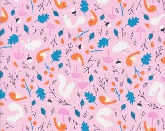 Forest Friends Pink Organic Cotton Fabric, Woodland Animals Fabric