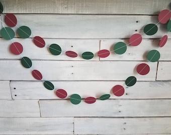 Circle Paper Garland | Christmas Garland | Holiday Garland | Maroon & Emerald Garland | Party Garland | Event Garland | Party Decoration