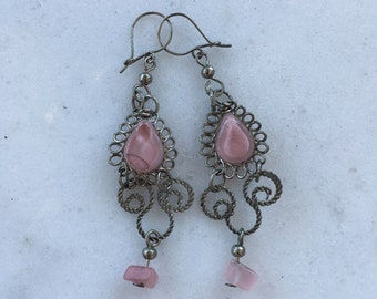 Pink antique style earrings