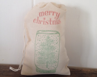 Snow Globe favor Bag Christmas Tree Muslin Bag Happy Holidays Party Favor Gift Bag Cloth Cotton Gift Bags Holiday Present Gift Exchange