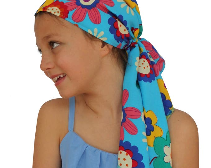 Featured listing image: Ava Joy Children's Pre-Tied Head Scarf, Girl's Cancer Headwear, Chemo Head Cover, Alopecia Hat, Head Wrap, Cancer Gift for Hair Loss, Spring