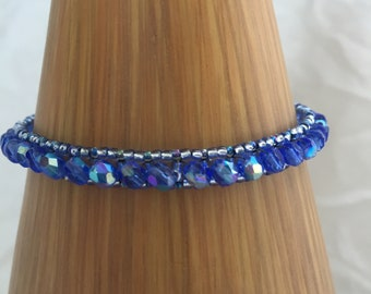 beaded bracelet blue beaded bracelet blue seed beads blue Czech fire polished beads dainty jewellery blue bling
