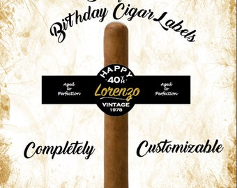 Set of 16 Personalized Cigar Labels - Vintage - Happy Birthday Cigar Labels - Aged To Perfection - Party Favors - Gift - Cigar band - Custom