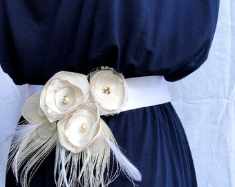 GRACE Ivory and White Fabric and Peacock Feather Flower Bridal Wedding Sash, Maternity Sash