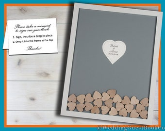 Guest Book Frame Drop Top Box Hearts Guestbook Custom Wedding Guest Book Framed Guestbook Personalized Book Alternative Heart Shadow Box