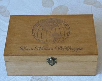 Engraved box, Personalized Engraved box, Memory box, Wooden box, Keepsake box, Custom Wooden Boxes, Storage box, Wooden jewellery box, World