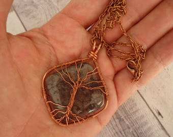 """Wire Wrapped Tree of Life Stone Pendant, Artisan Handmade Copper on 18"""" Antique Copper Tone Chain"""