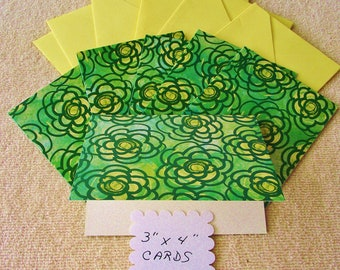 """6 - 3""""x4"""" Mini Note Cards/Gift Cards with envelopes  - Bright Green Flowers - Free Secondary Shipping"""
