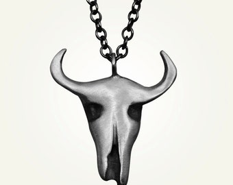 Cow Skull Necklace, Longhorn Necklace, Cow Skull Pendant, Longhorn Skull