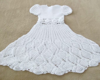 Infant Christening Gown, White - Crochet Baby Dress - Reborn Doll Clothes - White Dress, bonnet and Booties for Baby