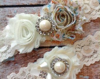 BLUE FLORAL  wedding garter set / bridal  garter/  lace garter / toss garter included /  wedding garter / vintage inspired lace garter