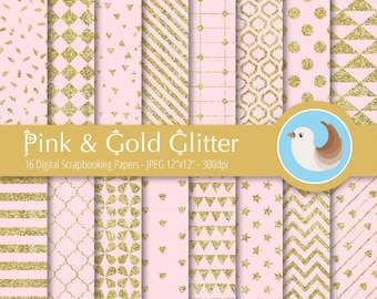 Pink and Gold Digital Paper Set - Pink Digital Paper - Gold Glitter Paper - Set of 12 Digital Scrapbooking Papers