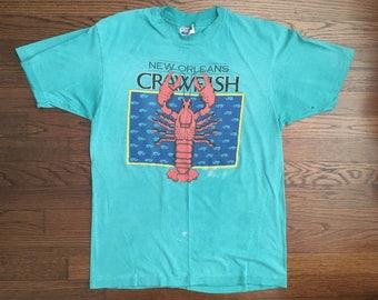 Vintage 1986 'New Orleans Crawfish' T-shirt Turquoise Size M