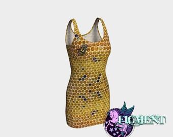Honeycomb BodyCon Dress - Bee Dress, Bee Costume, Apiary Dress, Apiary Gifts, Bee Lover, Bee Gifts, Honey Bee, Festival Dress, BooBee