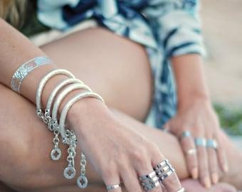 Organic Bar bracelet - Antique Silver