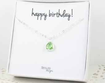 Tiny August Birthstone Silver Necklace, Peridot Necklace, Silver Necklace, August Birthday Gift, Bridesmaid Jewelry, Gifts Under 20