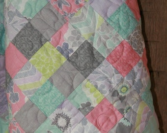 Patchwork Baby / Toddler Quilt Flowers, Butterflies, & Chevron in Pinks, Lavender, Blues, Greys- READY TO SHIP!