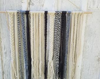 Farm house Charcoal, Yarn Wall Hanging, Boho wall Hanging, Yarn, Hipster Wall Hanging, Yarn Art, Tapestry
