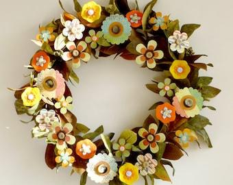 Wreath - All Season Paper Flowers Autumn Spring Summer Winter