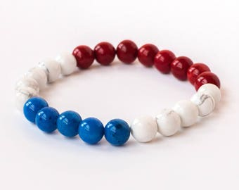 Team USA | 4th of July Bracelet | Flag Bracelet | Patriotic Bracelet | 4th July Bracelet | USA Flag Bracelet | Military Bracelet | Veteran