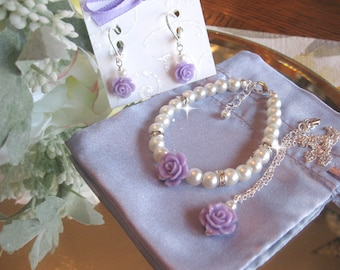 Flower Girl Lavender Flower Pearl and Rhinestone Necklace Bracelet and Earring Set/Flower Girl Jewelry/Wedding Jewelry/Children's Jewelry
