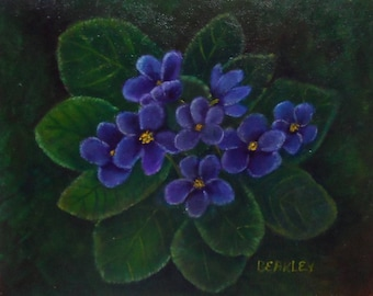 Violets Painting Acrylic Violet Painting Violets Floral Painting Flowers Painting Violets Canvas Panel