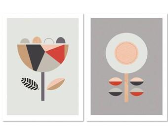 Scandi Flowers (Red and Grey), Series of two. Scandinavian art,Scandi art, geometric, Nursery art, Flower prints, Scandi baby, Geometric.