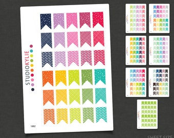 Patterned Flags - Planner Stickers - Removable Matte Vinyl