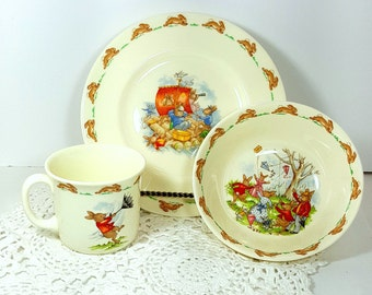 BUNNYKINS DISH SET Childs Dishes by Royal Doulton English Bunny Rabbit Vintage Childrens Place Setting New Old Stock 1989 Baby Gift