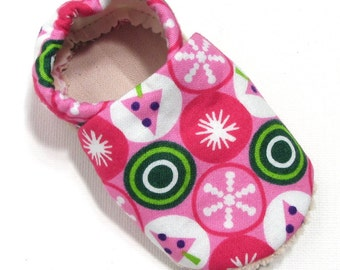 Pink Christmas Soft Soled Baby Shoes 0-6 mo