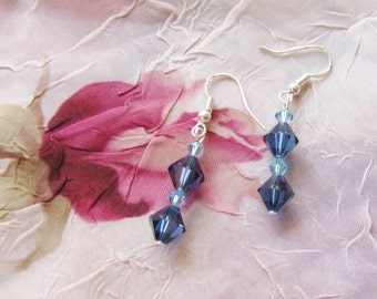 Midnight BLUES Swarovski Crystal dangle Earrings and Sterling Silver - gorgeous denim blues