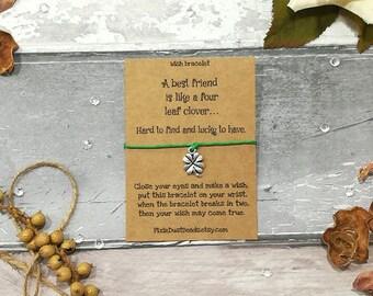 Four Leaf Clover Wish Bracelet, Friendship Wish Bracelet, Friend Wish Bracelet, Lucky Bracelet, Friend Gift, Charm Bracelet, Friendship Gift