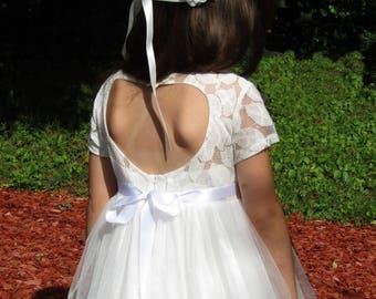 White flower girl dress,First Communion dress,Rustic wedding,long white dress,white lace dress,Baptism dress,Junior Bridesmaid dressy