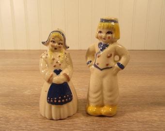 Sweet vintage china salt and pepper shakers- Japan- Holland children design