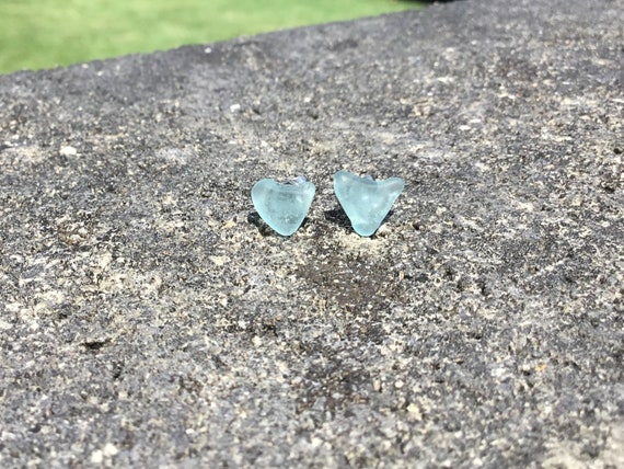 Sky Blue Surf Tumbled Seaglass, Hypoallergenic Stainless Steel Stud Earrings