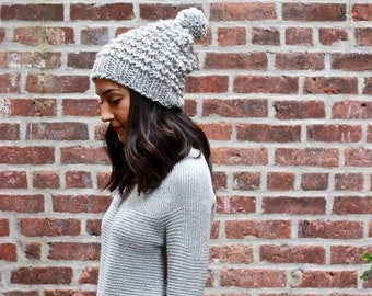 The Astoria - GREY MARBLE // Slouchy Chunky Knitted knit Beanie Hat wool pom pom