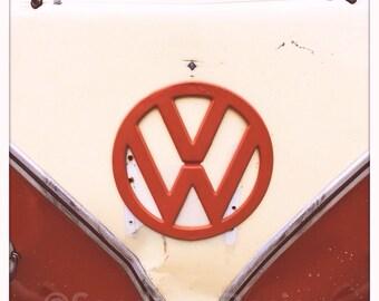 4 x 4 photo card-Paprika VW bus