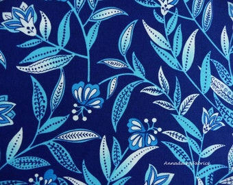 Blue Floral Fabric, Blank Quilting 6749 Belaire, Blue & Turquoise Flower Fabric, Floral Quilt Fabric, Cotton