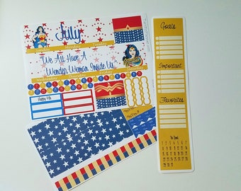 Wonder Woman Monthly Spread Kit Planner Stickers Chose your Month Removable Matte  or Glossy Stickers