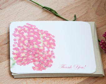 Pink Flowers Personalized Stationary Set, Note Card Set - Stationery Gift