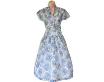 Original 1950's Novelty Print Dress // Bird Print Semi-Sheer Vintage Dress // Small UK 10 US 6