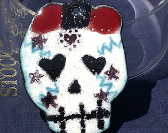 Vitreous Enameled Bewitched Girl Skull - Dia del Muerto - Day of Dead Piece