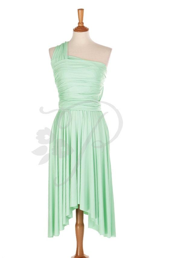 Bridesmaid Dress Infinity Dress Seafoam Green Knee Length Wrap