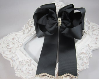 """NEW black OTT 5"""" bling bow with tails"""